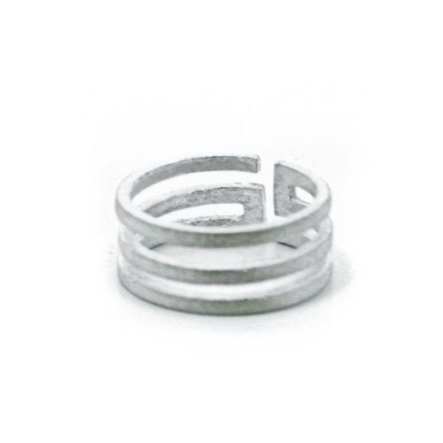 Adjustable Frosted Sterling Silver Classic Meander Finger Ring (R007)
